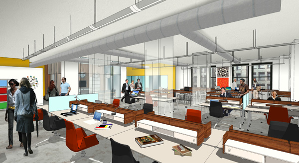 Rendering of CultureWorks coworking space