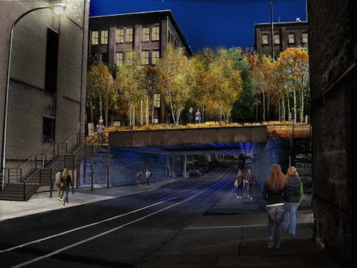 Rendering of the 13th Street overpass at night