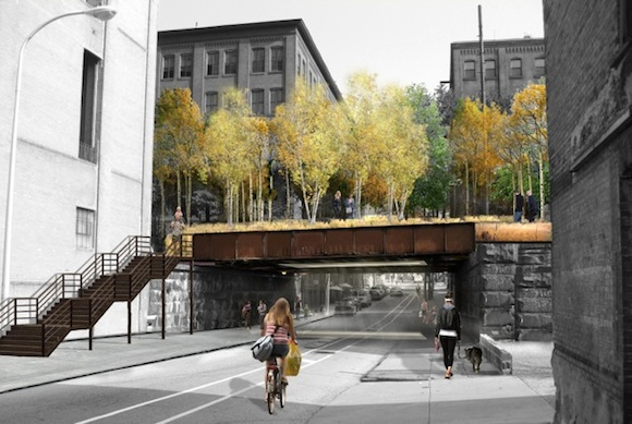 Rendering of the 13th Street overpass in daylight
