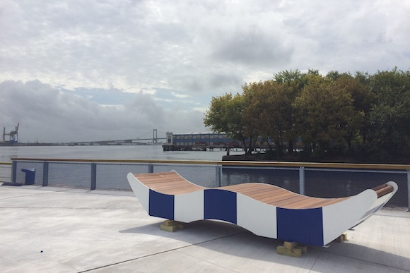 A bench on the renovated Pier 68