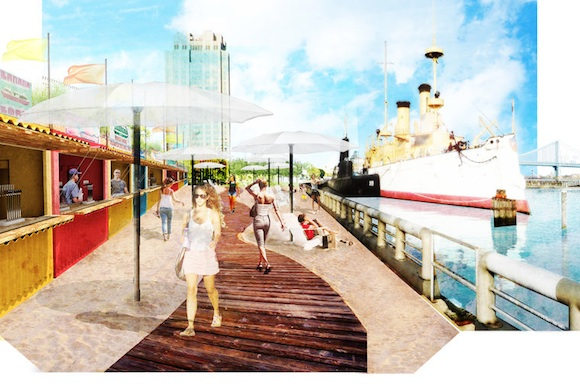 Rendering of the boardwalk at Spruce Street Harbor Park