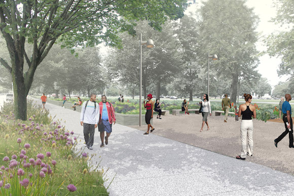 A rendering of the Centennial Commons' 'Neighborhood Edge'