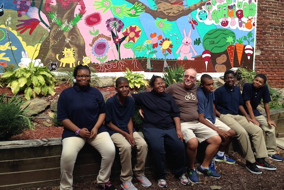 Students from a neighborhood school pitched in