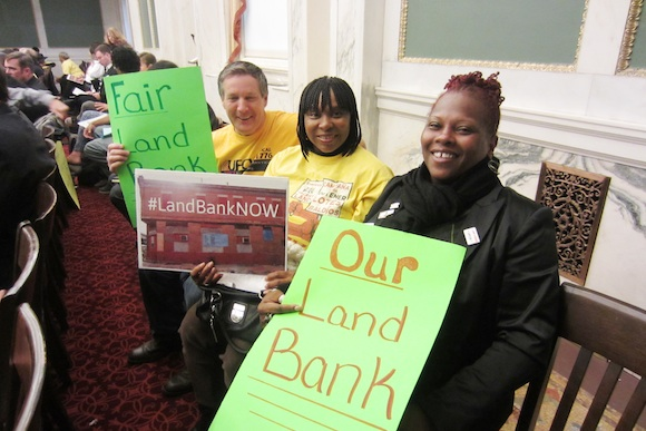 Over 100 Take Back Vacant Land supporters turned out at City Hall