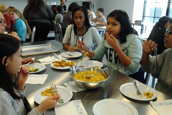 Masterman students taste their squash mac-'n'-cheese