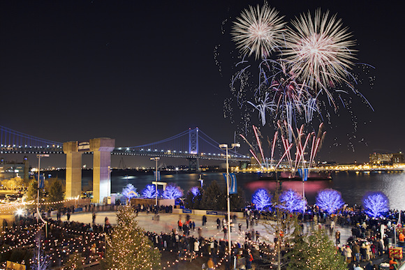 New Year's Eve fireworks over the Delaware River