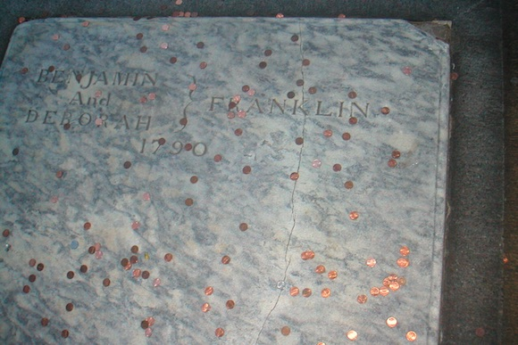 Pennies on Ben Franklin's grave