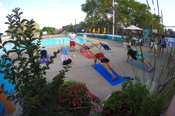 Yoga at the pop-up pool