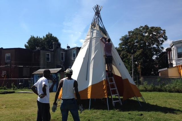 The teepee goes up